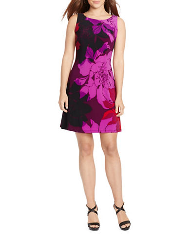 Chaps Sleeveless Floral A-Line Dress-BEETROOT-Small