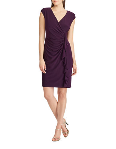 Chaps Ruffled Jersey Dress-EGGPLANT-Small 89350265_EGGPLANT_Small