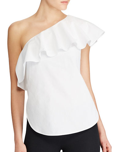 Lauren Ralph Lauren Ruffled One Shoulder Cotton Poplin Top-WHITE-6