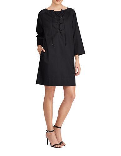 Lauren Ralph Lauren Twill Lace-Up Mini Dress-POLO BLACK-Medium