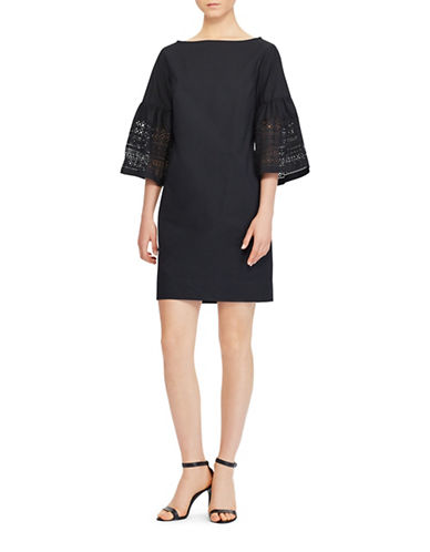 Lauren Ralph Lauren Laser-Cut Poplin Shift Dress-POLO BLACK-4