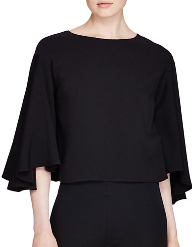 Lauren Ralph Lauren Crepe Bell-Sleeve Cropped Top-POLO BLACK-Large