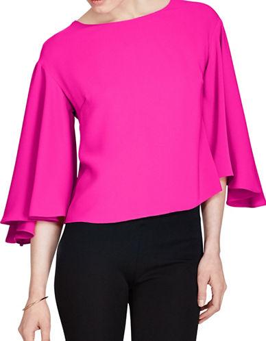 Lauren Ralph Lauren Crepe Bell-Sleeve Cropped Top-BOLD PINK-Large