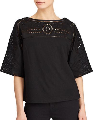 Lauren Ralph Lauren Eyelet Embroidered Top-POLO BLACK-Medium