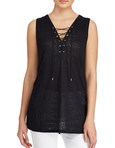 Lauren Ralph Lauren Lace-Up Linen Top-POLO BLACK-Medium