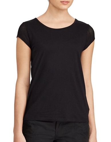 Lauren Ralph Lauren Mesh Sleeve Jersey Tee-POLO BLACK-Medium