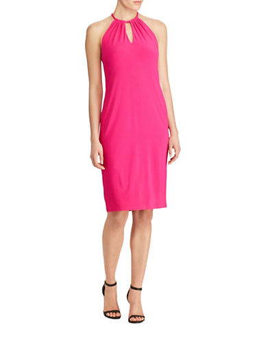 Lauren Ralph Lauren Stretch Jersey Halter Sheath Dress-BOLD PINK-X-Large
