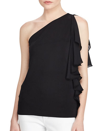 Lauren Ralph Lauren Ruffled One Shoulder Top-POLO BLACK-Medium