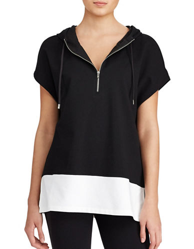 Lauren Ralph Lauren Colorblocked Hoodie-POLO BLACK-X-Small 89345354_POLO BLACK_X-Small