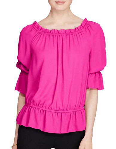 Lauren Ralph Lauren Georgette Off-the-Shoulder Top-BOLD PINK-Large