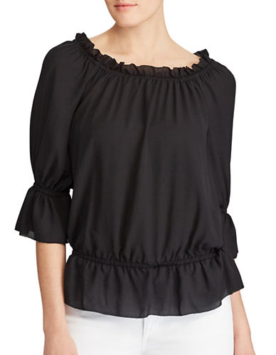 Lauren Ralph Lauren Georgette Off-the-Shoulder Top-POLO BLACK-X-Large