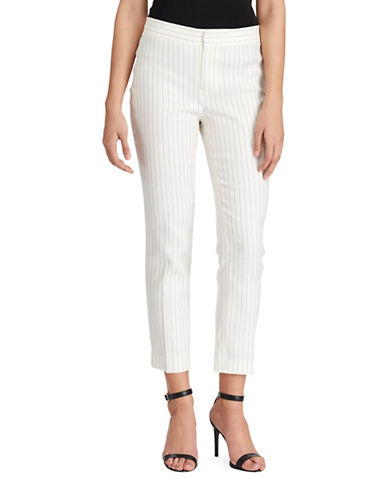 Lauren Ralph Lauren Pinstriped Twill Skinny Pants-WHITE/BLACK-10