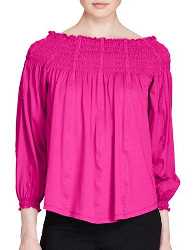 Lauren Ralph Lauren Smocked Off-the-Shoulder Top-BOLD PINK-Medium