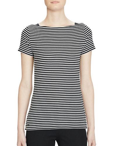 Lauren Ralph Lauren Striped Boatneck Tee-POLO BLACK-Large