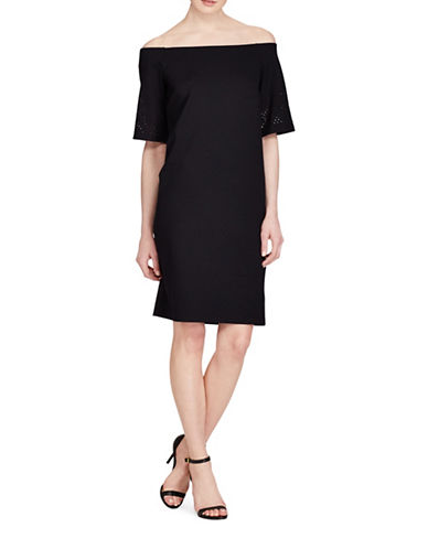 Lauren Ralph Lauren Laser-Cut Ponte Shift Dress-POLO BLACK-Medium