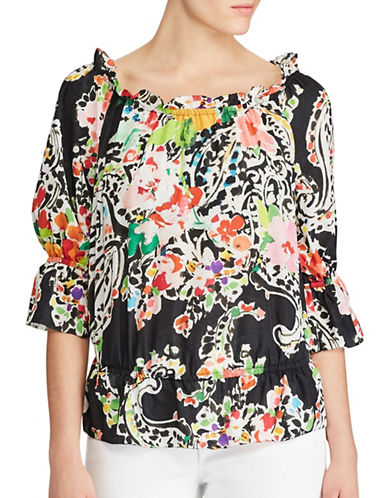 Lauren Ralph Lauren Paisley Crepe Off-the-Shoulder Top-BLACK MULTI-Large