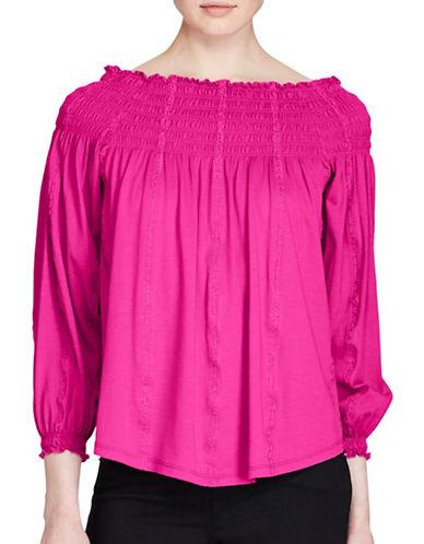 Lauren Ralph Lauren Petite Smocked Off-the-Shoulder Top-PINK-Petite Medium