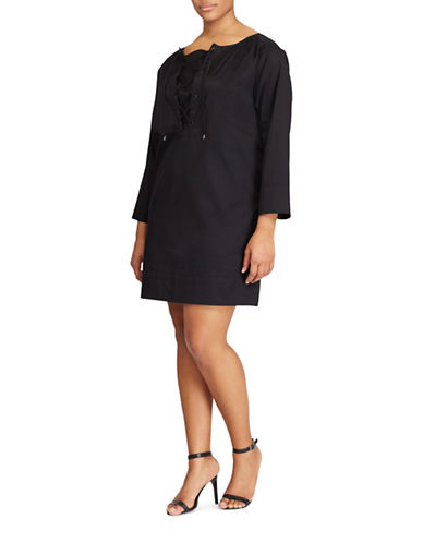 Lauren Ralph Lauren Plus Cotton Twill Lace-Up Dress-BLACK-1X