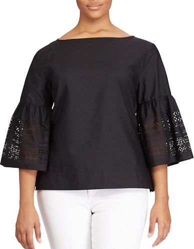 Lauren Ralph Lauren Plus Laser-Cut Cotton-Blend Shirt-BLACK-1X