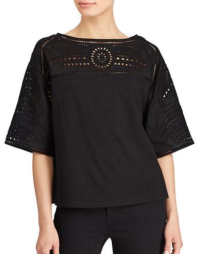 Lauren Ralph Lauren Plus Lodrya Eyelet-Embroidered Jersey Top-BLACK-1X
