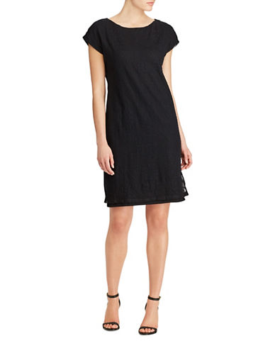 Lauren Ralph Lauren Plus Vasendra Embroidered Tulle Dress-BLACK-1X