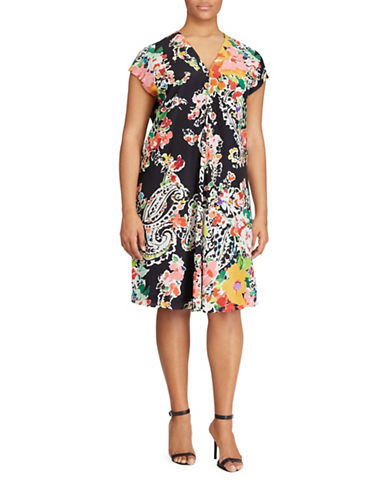 Lauren Ralph Lauren Plus Floral-Print Dress-BLACK-18W