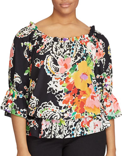 Lauren Ralph Lauren Plus Paisley Crepe Off-the-Shoulder Top-BLACK-3X