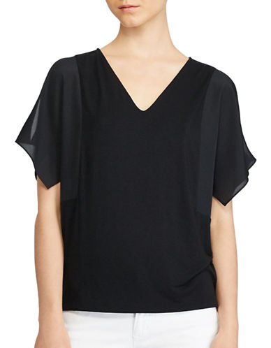 Lauren Ralph Lauren Plus V-Neck Jersey Top-BLACK-1X 89362072_BLACK_1X