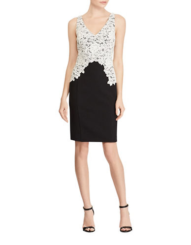 Lauren Ralph Lauren Lace Overlay Crepe Dress-BLACK/IVORY-4