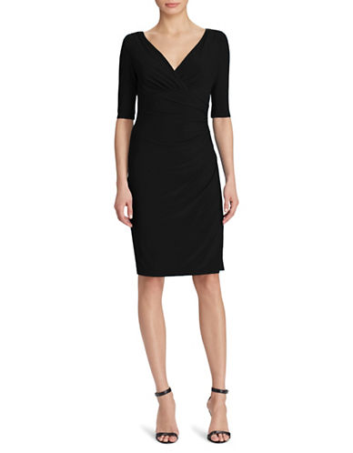 Lauren Ralph Lauren Surplice Jersey Sheath Dress-BLACK-8