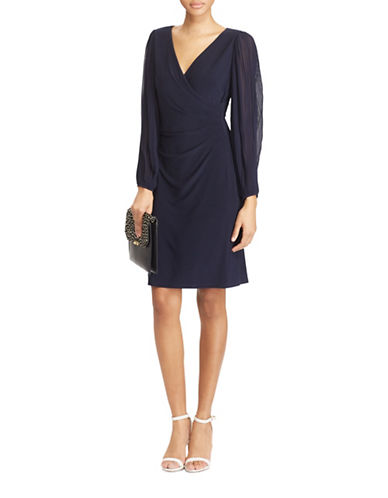 Lauren Ralph Lauren Slim-Fit Georgette-Sleeve Jersey Dress-LAVENDAR-10