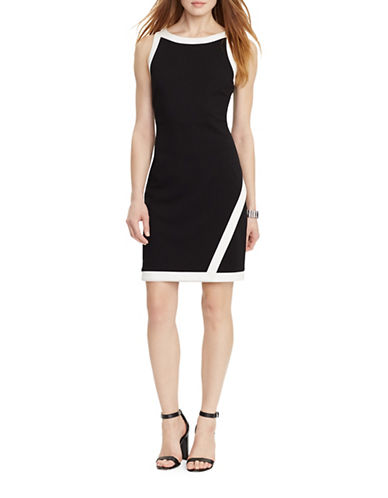 Lauren Ralph Lauren Marcos Colourblock Sheath Dress-BLACK/WHITE-4