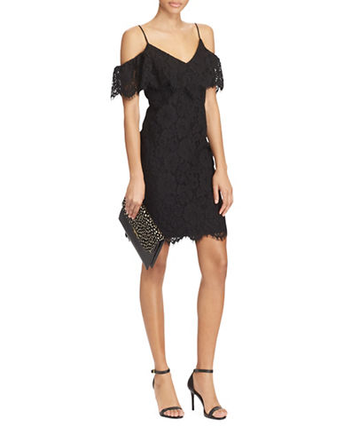 Lauren Ralph Lauren Ruffled Lace Sheath Dress-BLACK-16