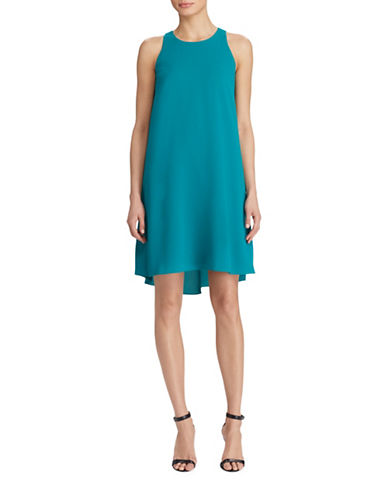 Lauren Ralph Lauren Stretch Crepe A-Line Dress-EMERALD GREEN-2