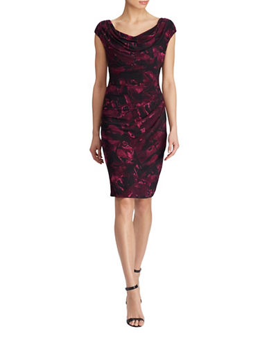 Lauren Ralph Lauren Valli Abstract-Print Jersey Sheath Dress-BERRY/BLACK/MULTI-18