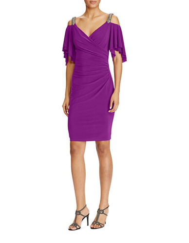 Lauren Ralph Lauren Cut-Out Shoulder Jersey Dress-MULBERRY-4