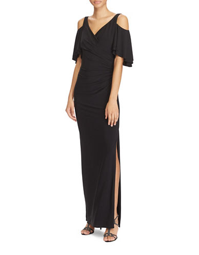 Lauren Ralph Lauren Slim-Fit Cold-Shoulder Matte Jersey Gown-BLACK-4