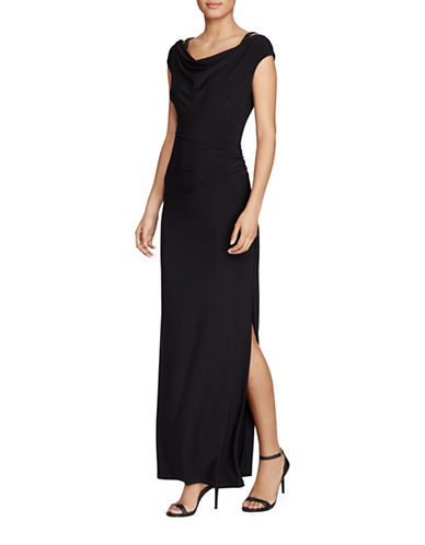 Lauren Ralph Lauren Slim-Fit Beaded Strap Matte Jersey Gown-BLACK-10