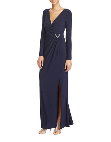 Lauren Ralph Lauren Slim-Fit Shirred Jersey Gown-BLUE-0