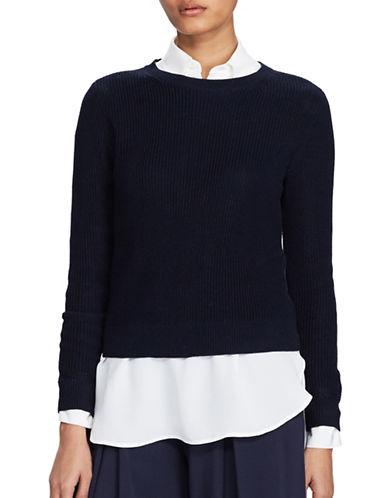 Polo Ralph Lauren Button-Back Cotton Sweater-NAVY-X-Large