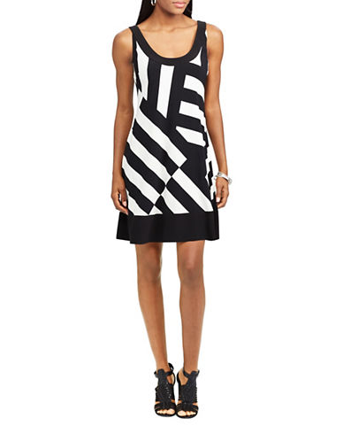 Chaps Striped Jersey A-Line Dress-CREAM/BLACK-Small