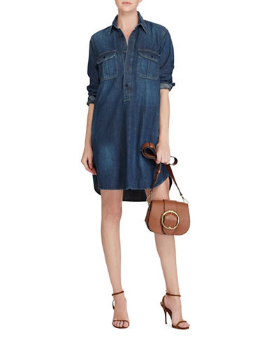 Polo Ralph Lauren Long Sleeve Denim Shirt Dress-BLUE-Small