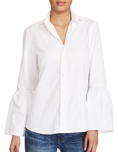 Polo Ralph Lauren Broadcloth Bell-Sleeve Shirt-WHITE-10