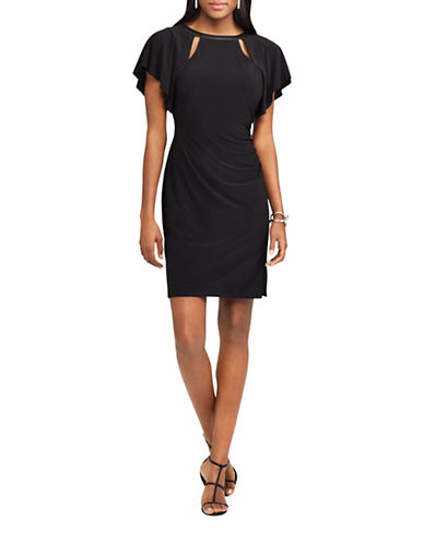 Chaps Flutter-Sleeve Jersey Dress-BLACK-X-Small