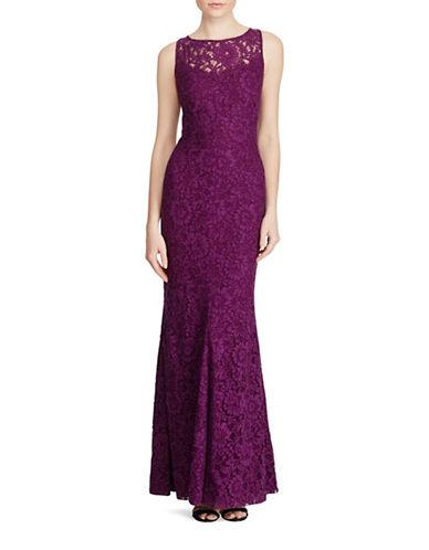 Lauren Ralph Lauren Scalloped Lace Gown-PURPLE-18