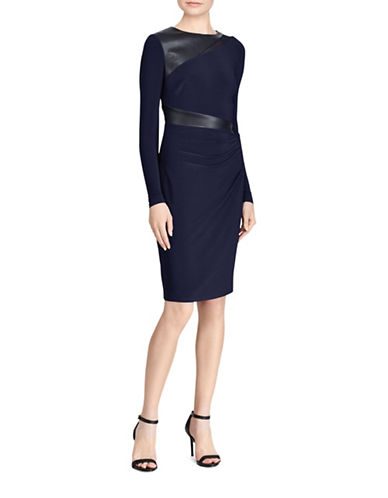 Lauren Ralph Lauren Celeste Faux-Leather Trim Jersey Sheath Dress-NAVY-16