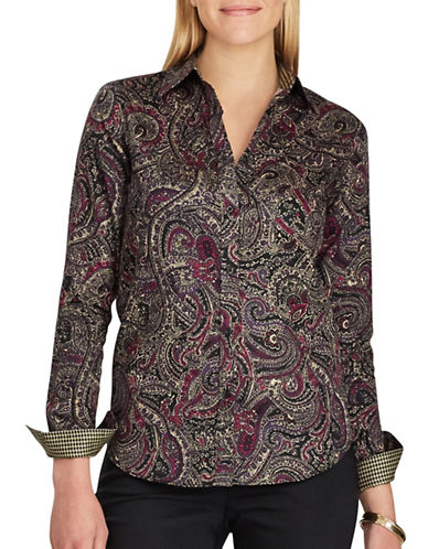 Chaps Paisley Cotton Button-Down Shirt-BLACK MULTI-Medium