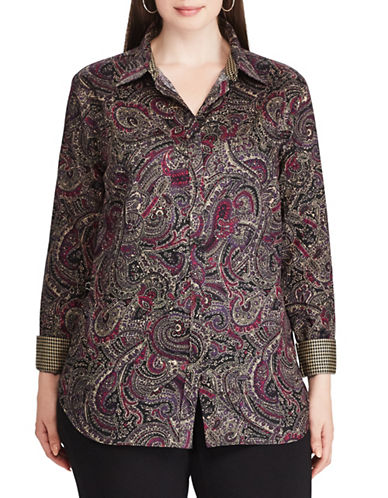 Chaps Plus Paisley Cotton Shirt-BLACK MULTI-2X