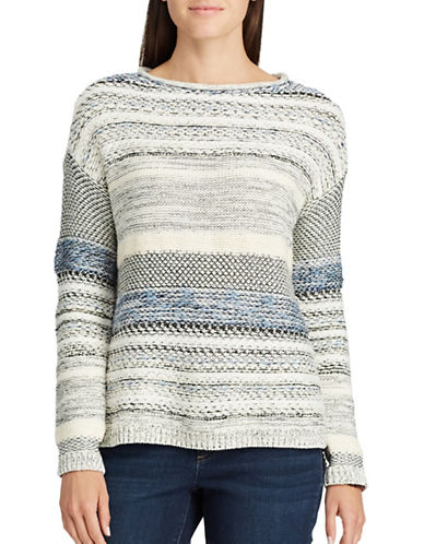 Chaps Striped Roll-Neck Sweater-WHITE MULTI-Small