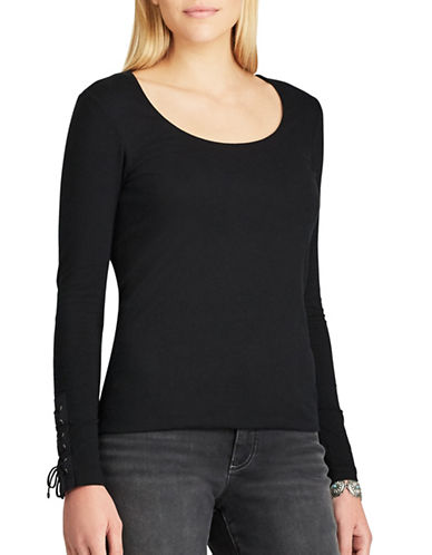 Chaps Stretch Jersey Scoopneck Cotton Top-BLACK-X-Large